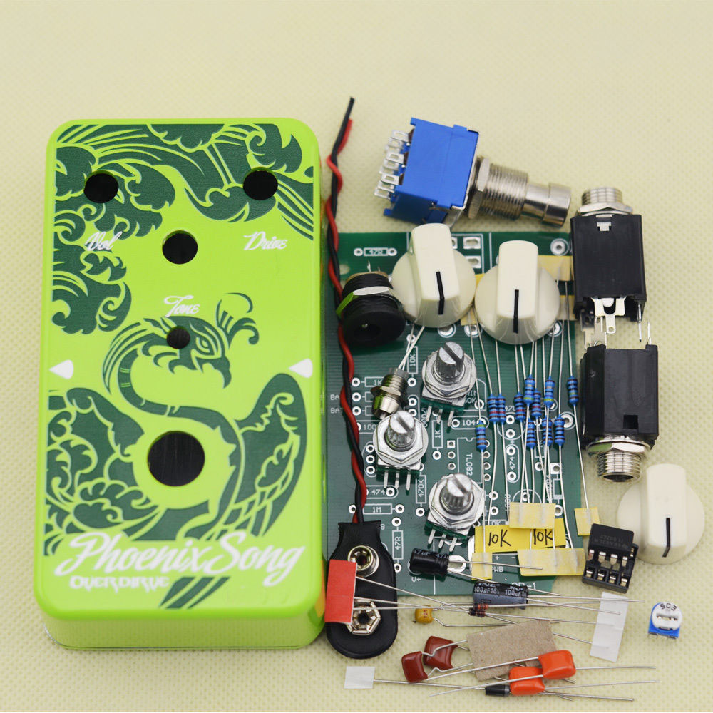 Overdrive Guitar Effect Pedal True Bypass with 1590B  green case Electric guitar stompbox pedals OD1 Kits aov 3 ocean verb digital reverb electric guitar effect pedal aroma mini digital pedals with true bypass guitar parts