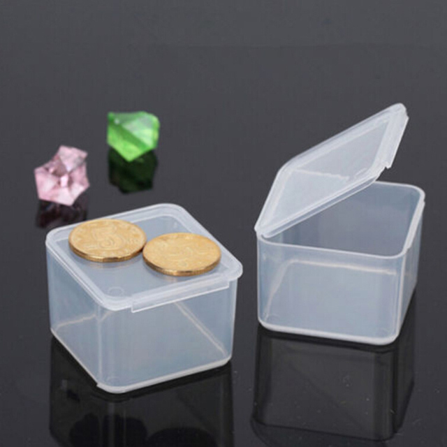 New Transpa Plastic Small Square Bo Packaging Storage Box With Lid For Jewelry Accessories Finishing