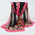 2017 Verão mulheres lenço de seda da marca cachecol hijab Lenços de Moda Chiffon Impressão georgette feminino Lenços de seda 160*50 cm