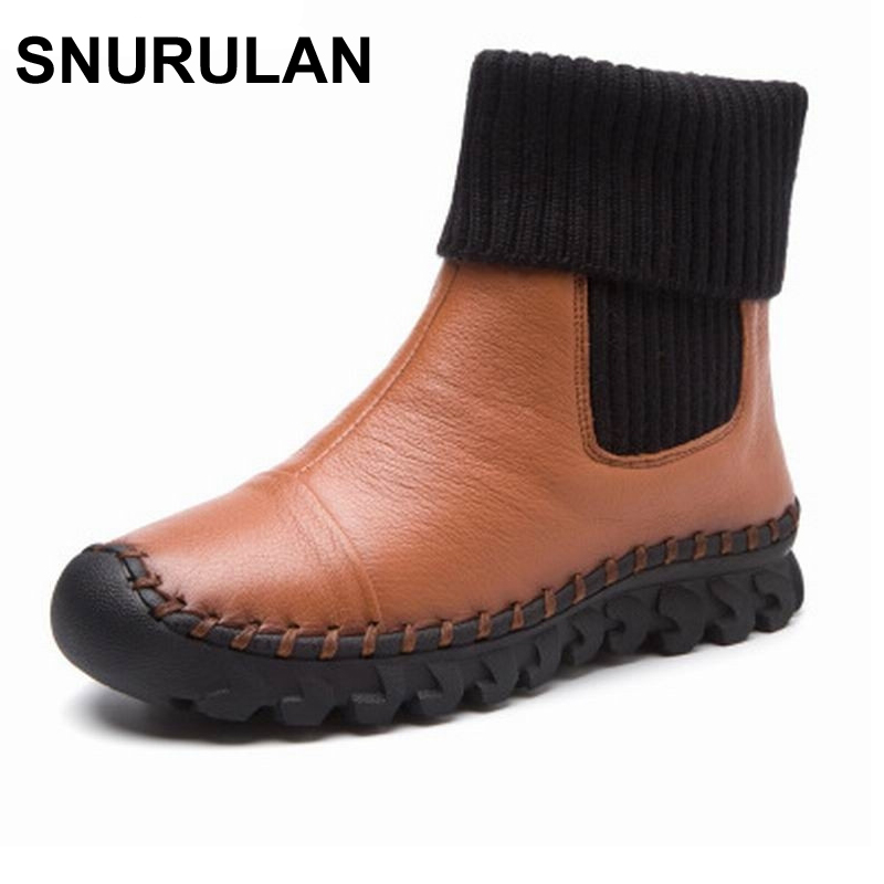 SNURULAN New 2017 Women Winter Ankle Boots Handmade Velvet Flat With Boots Shoe Comfortable Casual Shoes Women Snow Boots yaerni new 2017 women winter ankle boots handmade velvet flat with boots shoe comfortable casual shoes women snow boots