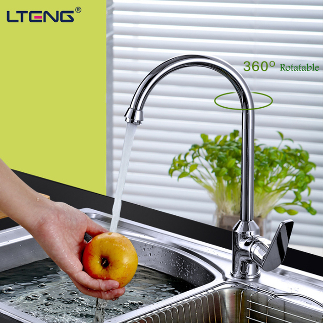 LTENG kitchen faucet  full copper rotatable hot and cold water faucet single handle single hole ceramic spool free shipping