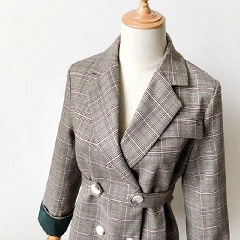 Vestes Qualité Femme 2018 Ol Blazer Printemps Double Femmes Manteaux Mince Casual Breasted Plaid Automne Style Vintage W1380 Haute ww7qOHIA