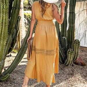 Image 2 - CUPSHE zarif V boyun ince düğme uzun Maxi elbise 2020 yeni yaz plaj Boho sarı Ruffled büzgü kolsuz Sundress Vestido