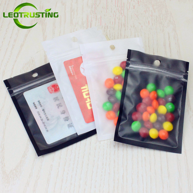 Leotrusting 100pcs One Side Clear Plastic Bag Frosted Black/White Hanging  Ziplock Bag Matt Plastic