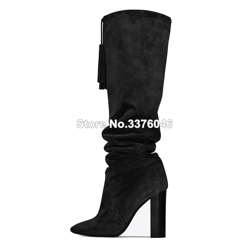 Newest Women Fashion Pointed Toe Black Brown Suede Leather Chunky Heel Tassels Knee High Boots Slip-on Thick High Heel Long Boot preppy style women s high heel boots with suede and slip on design