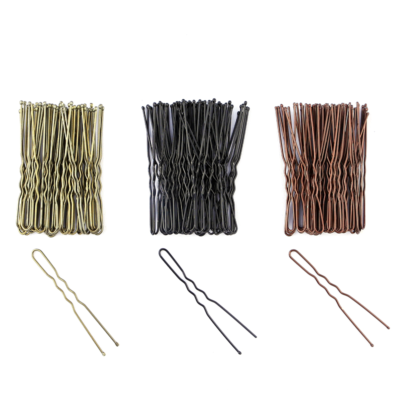 40pcs 6cm U Shape Hair Clips Bobby Pins For Women Girls Bride Hair Styling Accessories Black Gold Brown Hairpins Metal Barrettes