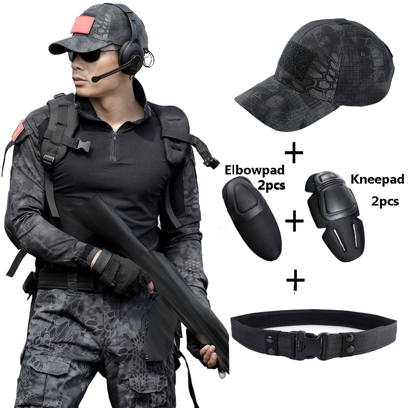 Military Suits Tactical T Shirt + Pant Men Hunter Combat Camouflage Clothes with Hats Belts Knee Pad Special Force CS Fight Sets