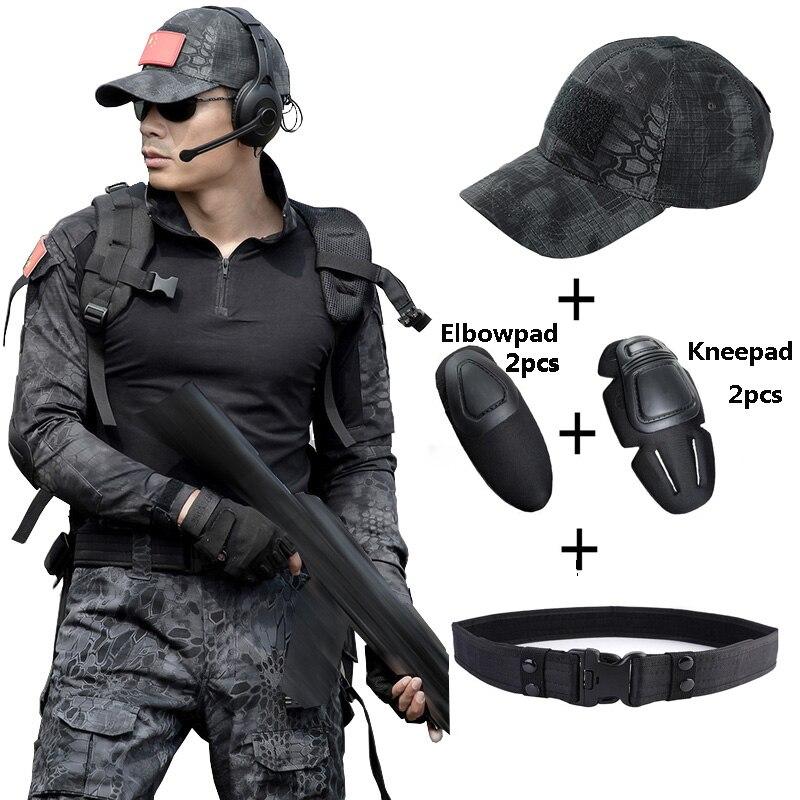 Trajes militares T Shirt táctico + pantalón hombres Hunter camuflaje de combate ropa con sombreros cinturones rodillera especial fuerza CS conjuntos de lucha