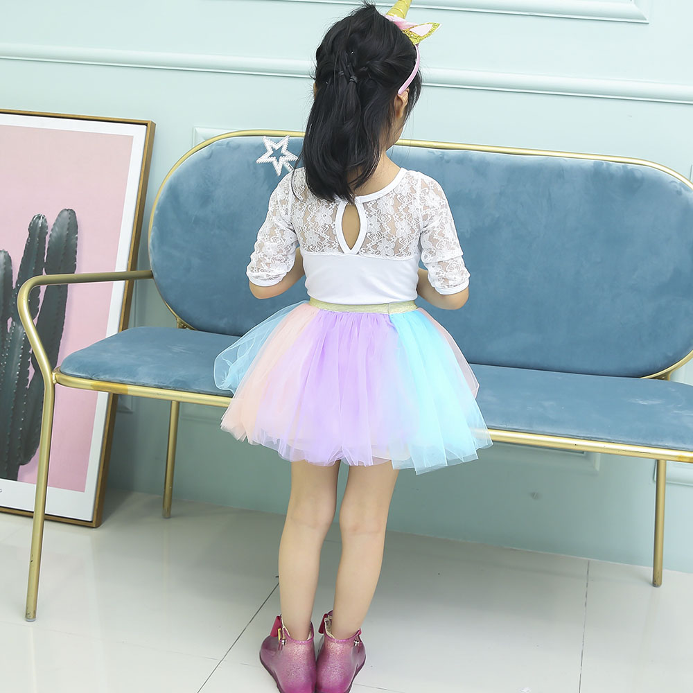 Pastel Clothing Unicorn Girls Skirts Princess Tutu Pony Knee Length Party Skirt with Hairband Set Kids Girl Tutu Skirts Children (4)