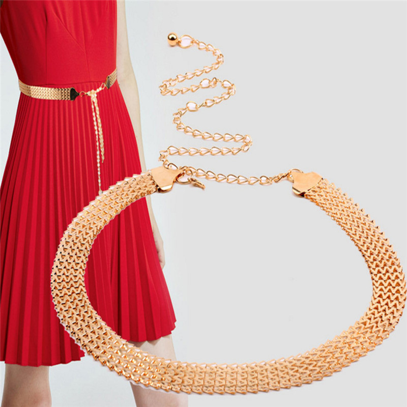 Belts   For Women Chain Stretchy Strap Elegant Waist   Belt   Metal Designer   Belts   Luxury Diamond Female Thin Waistband Ceinture Femme