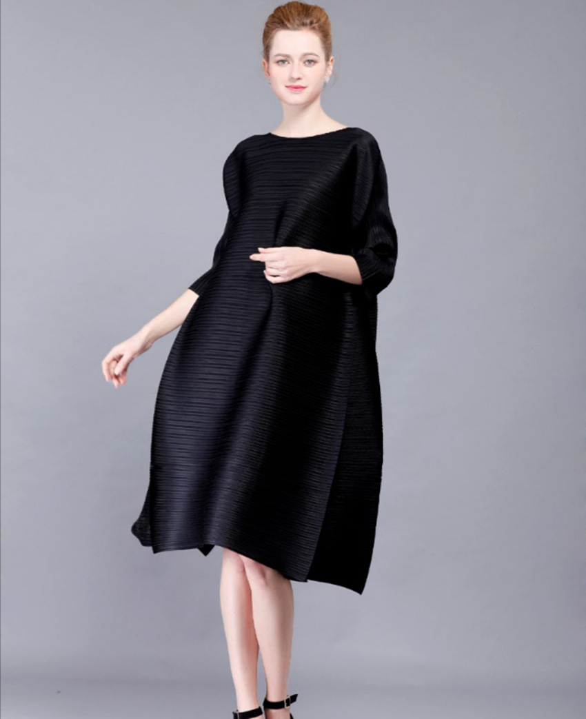 High-end mode sorte kvinders kjoler Miyak plisserede 3/4 ærmer - Dametøj - Foto 2
