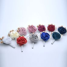 1Pc Women Men Wedding Artificial Rose Flower Brooch Bouquet Corsage Inmitaion Pearl Ribbon Lace Classic Prom Boutonniere With Pi