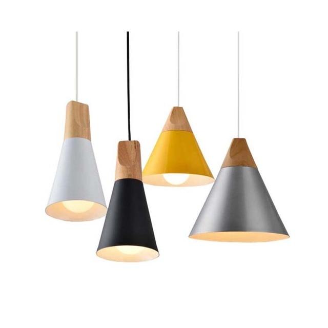 Etonnant Wood Lamp Pendant Light Aluminum E27 Lamp Holder Black White Yellow Pendant  Lights For Dining Living