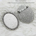 Sweet Bell wholesale Antique silver Metal Alloy 39*48mm (Fit 30*40mm Dia) Filigree Brooch oval Cabochon Brooch 8pcs/lot D0648