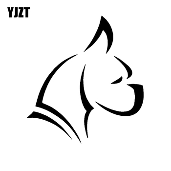 YJZT 12CM*13.1CM Cute Boxer Puppy Dog Car Bumper Window Car Sticker Black/Silver C2-3094 image