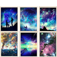 Diamond Embroidered 5D DIY  Cross Stitch Starry Sky 100% Full Rhinestone Mosaic Crafts Decoration Home