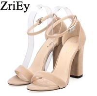 ZriEy Ankle Strap Pumps Summer Shoes Woman Large Size 35 42 Chunky High Heels Women Sandals