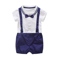 Summer Baby Boy Clothes Baby Clothing Suit Gentleman Style Bow Tie Romper Blue Bib Baby Boy