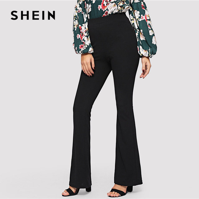 SHEIN Black Elegant Office Lady Elastic Waist Flare Hem Pants Casual Solid Minimalist Pants 2019 Spring Women Pants Trousers 1