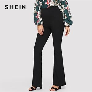 Image 2 - SHEIN noir élégant bureau dame taille élastique Flare ourlet pantalon décontracté solide minimaliste pantalon 2019 printemps femmes pantalon