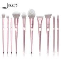 Jessup brushes 10pcs Pink Makeup brushes sets Make up brush Cosmetic beauty blush Powder Foundation Dome Pencil