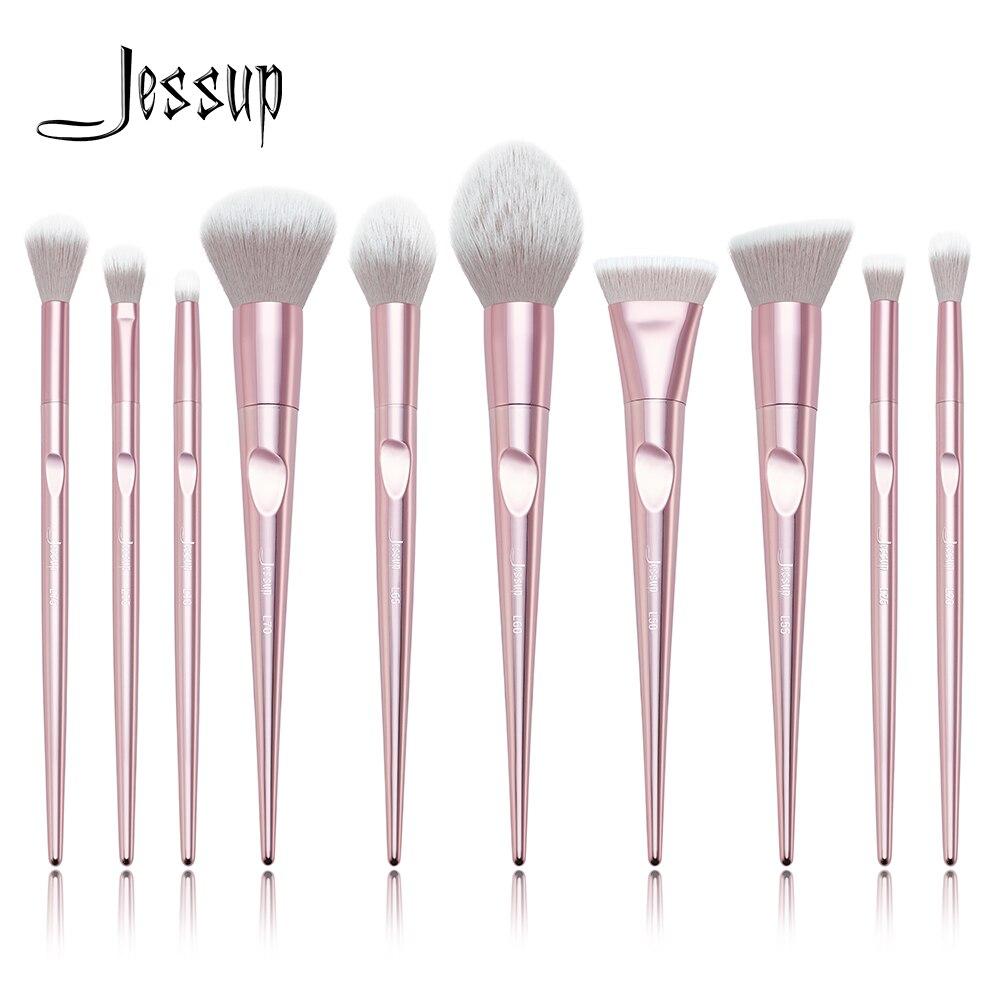 Nouvelle arrivée Jessup brosses 10 pcs Rose Maquillage brosses de maquillage brosse Cosmétique beauté blush Poudre Fondation Dôme Crayon