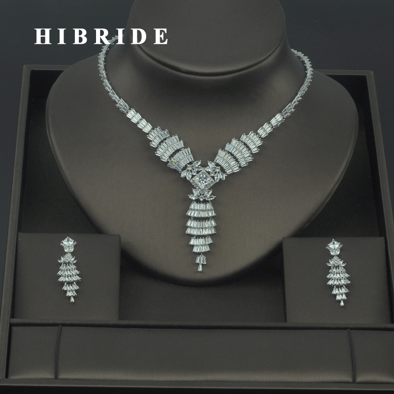 HIBRIDE 5 Color Available Beautiful Micro Cubic Zirconia Women Bridal Jewelry Sets Wedding Earring Necklace Sets Gift N-306HIBRIDE 5 Color Available Beautiful Micro Cubic Zirconia Women Bridal Jewelry Sets Wedding Earring Necklace Sets Gift N-306