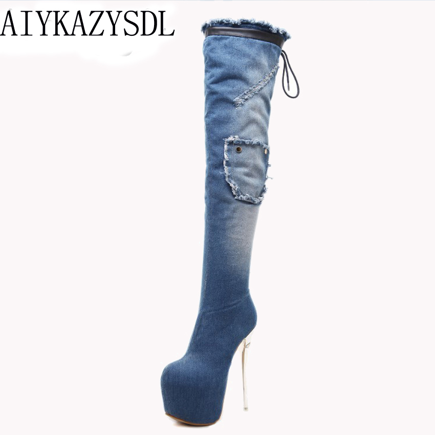 все цены на AIYKAZYSDL Women Snow Boots Faux Fur Denim Over The Knee Thigh High Boots Platform Ultra High Heel Stiletto Boots Fetish Shoe