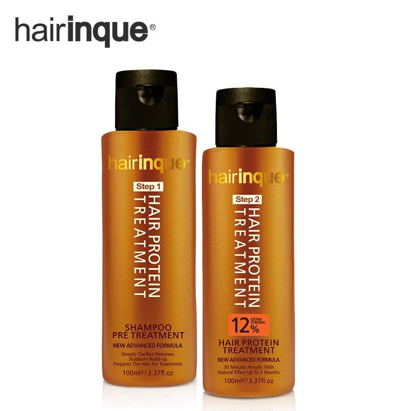 HAIRINQUE 12% Brasilianische keratin behandlung mit pre keratin shampoo haarpflege set für reparatur geschädigter haare set