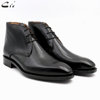 cie square plain toe full grain genuine calf leather boot solid black handmade bespoke leather lacing derby men's ankle boot A04