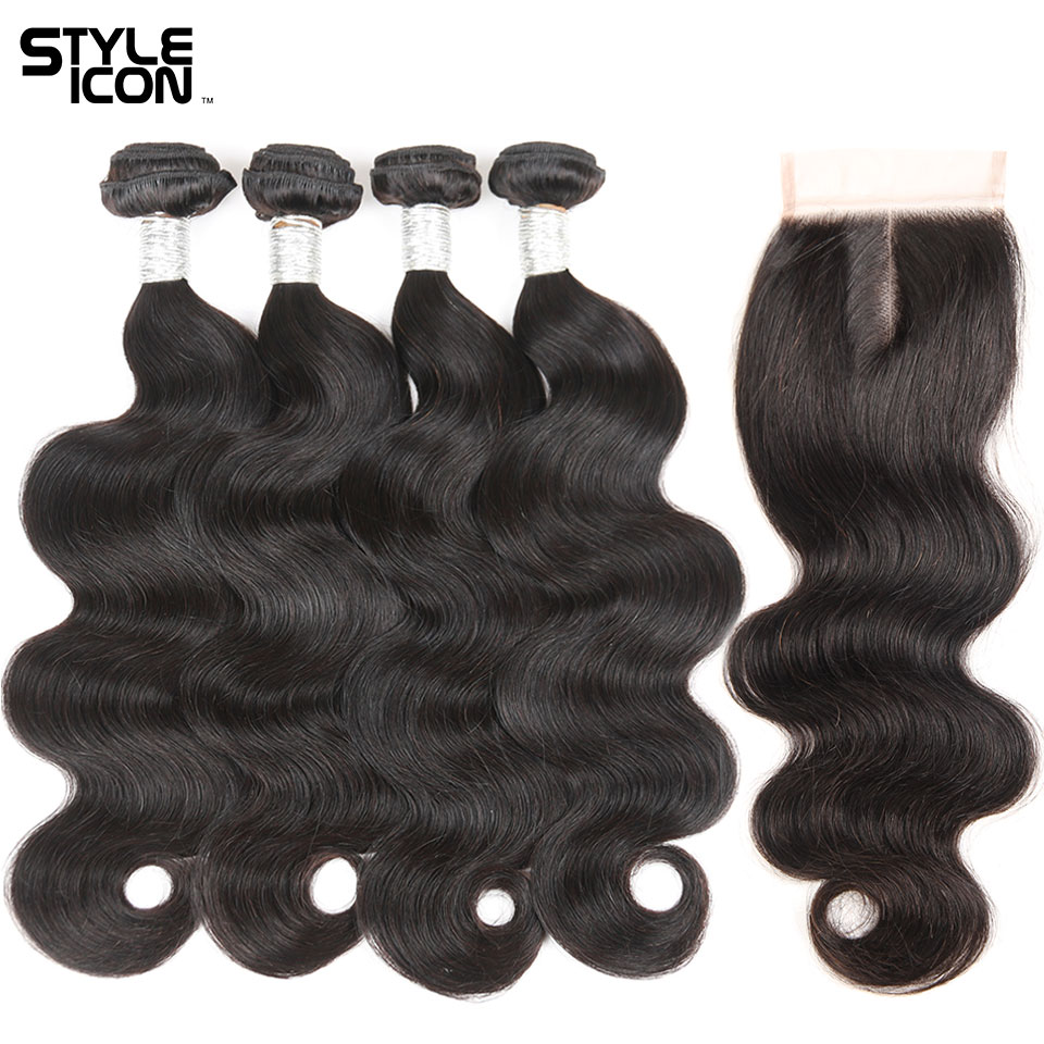 Styleicon Peruvian Hair Bundles With Closure Body Wave Hair Weave 3 4 Bundles With Lace Closure Natural Color Non-Remy Free Ship