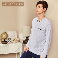Qianxiu 2018 couple style men's sets cotton material classic plaid sets Leisure men's pajamas