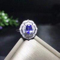 Uloveido Natural Tanzanite Ring for Women, 925 Sterling Silver Wedding Jewelry, 5*7mm Gemstone with Velvet Box Certificate FJ240