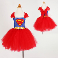 2017 Mode De Noël Filles Vêtements Rouge Parti Robe Enfants Tutu Concepteur Super Filles Costumes pour Halloween D'anniversaire