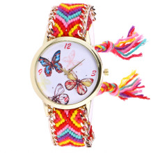 Watch Women Clock Butterfly Knitted Weaved Rope Band Bracelet Quartz Dial Wrist Watch Hot Selling Charming Cute Leisurely M4