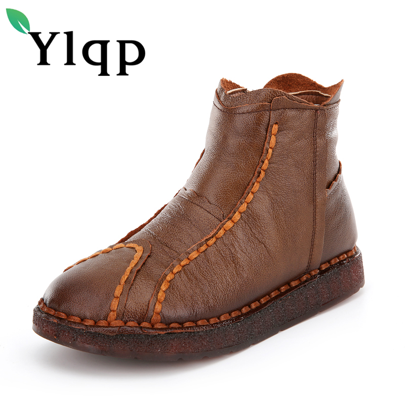 Ylqp Brand 2018 Winter National Wind Retro Handmade Genuine Leather Boots Wild Flat Warm Soft Bottom Mother's Boots Cotton Shoes new national wind flowers handmade genuine leather shoes women retro soft bottom flat shoes summer canvas ballet flats k62
