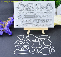 Penguins Sleds Metal Cutting Dies And Stamp Stencils For DIY Scrapbooking