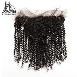Poker Face бразильский странный вьющиеся фронтальная с завязкой натуральные волосы предварительно выщипанные волосы 13x4 швейцарских закрытия