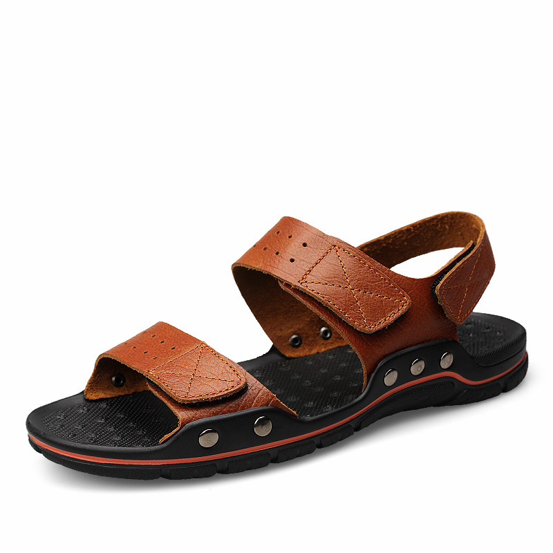 High Quality Men Summer Sandals Leisure Man Outdoor Leather Sandals Plus Size Brown Casual Summer Slippers 2016