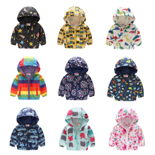 Cartoon Printed Hooded Jackets For Girls Coat Boys Outerwear Baby