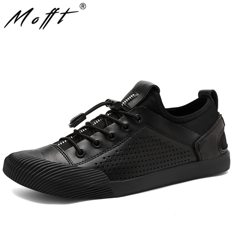 Summer Breathable Men Leather Shoes Gentleman Lace Up Casual Shoes Round Toe Flats Footwear High Quality