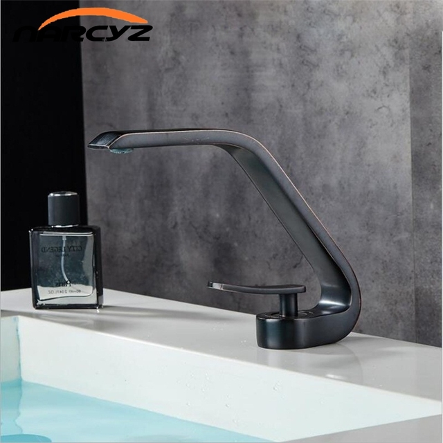 Modern Bathroom Mixer Tap Silver Black Brush Nickel Color Brass ...