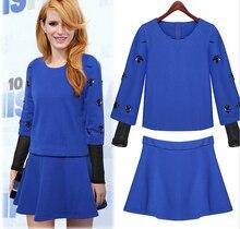 European Autumn New Fashion Women Suits Round neck Long sleeve Nail bead Short Skirt Suit Women Elegant Slim Suits G1940