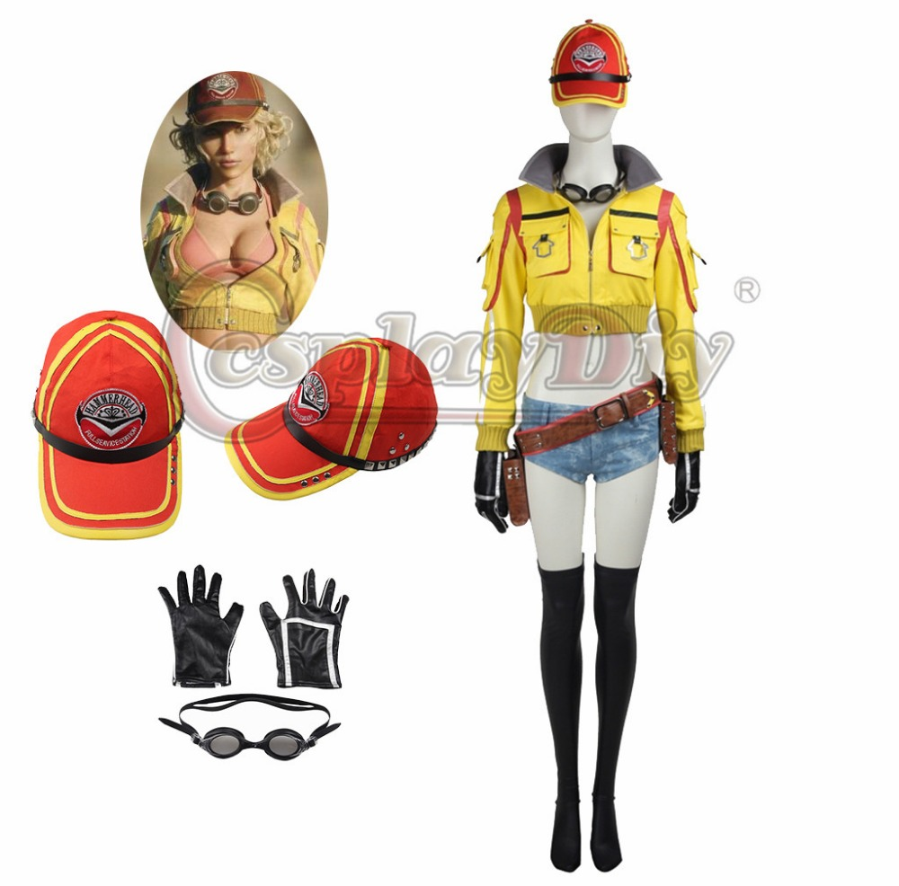 Cosplaydiy Final Fantasy XV Cindy Aurum Cosplay Outfit Halloween Cosplay Costume for Adult Women Without Shoes Custom Made J5