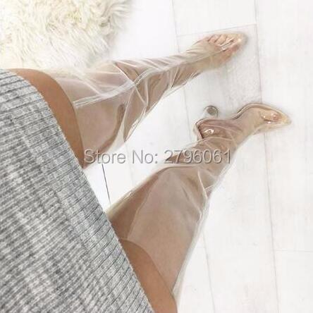 Здесь продается  Chunky Heels PVC transparent Clear heels Woman Thigh High Boots Crystal Heels Sexy Women Gladiator Style Boots Shoes Free Ship  Обувь