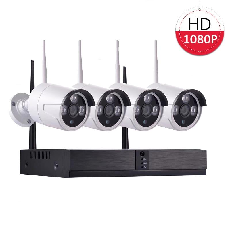 1080P NVR WIFI Kit Surveillance Security Camera System 4CH 2MP font b Wireless b font CCTV