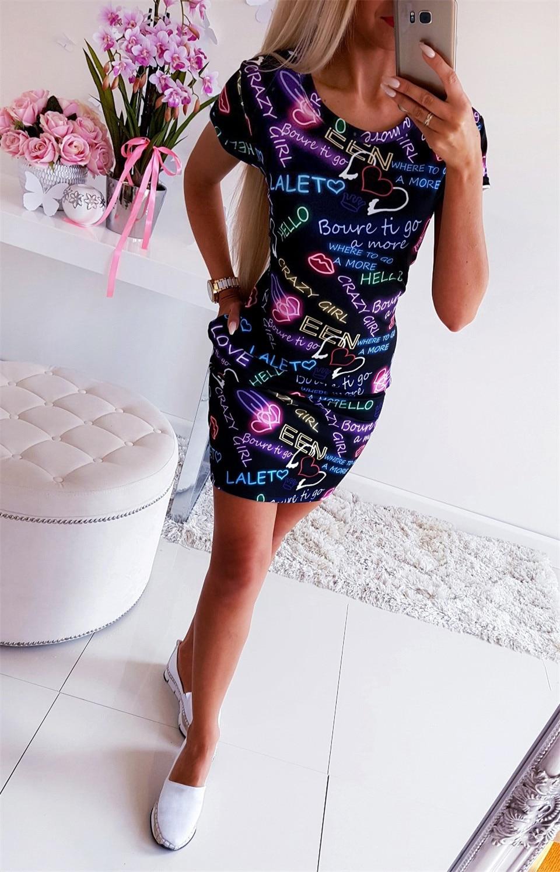 HTB1l pkQmzqK1RjSZFHq6z3CpXa8 Elegant Women English Letter Print Dress Fashion Round Neck Short Sleeve Summer Mini Dress Office Lady Slim Fit Bodycon Dresses