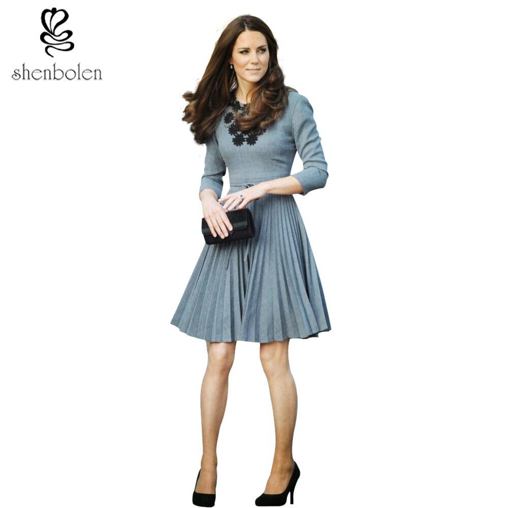2017 summer fashion Kate Middleton Same Princess Style brand handwork Stick flower Elegant women Neck long sleeve pleated dress