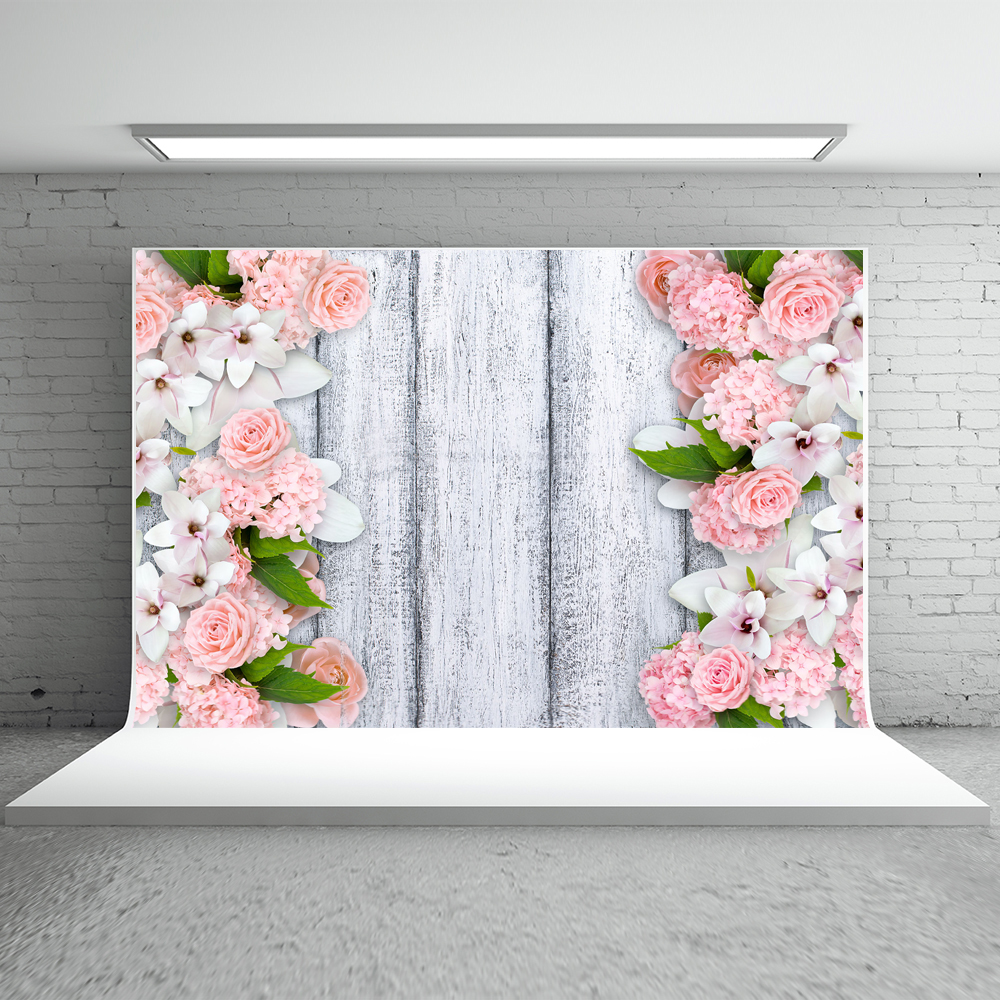 Kate Valentine'S Day Photography Background 5x7ft Wood Planks Photography Backdrop Pink Flower Cotton Photo Backgrounds 8x10ft valentine s day photography pink love heart shape adult portrait backdrop d 7324