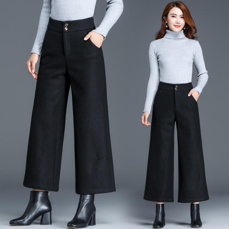 gray Classic Stroiped Bigsize Black black Pantalon Alta 4xl Mujeres Striped brown Cintura Pantalones Casual De Mujer Generoso Pierna Ancha Lana Para 2018 Striped Botón Otoño fFq1STwxT